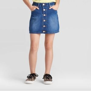 Girl's Button Down Front Jean Skirt Adjust Waist